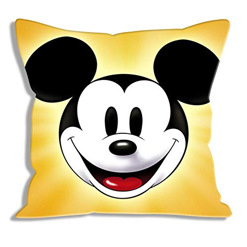 Fundas de cojín Estampadas Disney: Mickey, Funda de cojín de Retrato Cojín de Moda Cojines de Dormitorio Cuadrados Diseño único Fundas de Cojines Decorativos para sofá Sala de Estar Coche 45x45cm