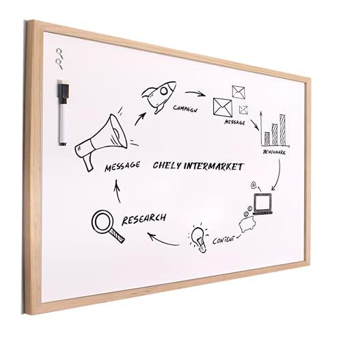 Chely Intermarket Pizarra blanca 100x150cm esmaltada con marco de madera, no magnética. Tablero ideal para la pared oficinas, ligero y portatil.(551-100x150-7,50)