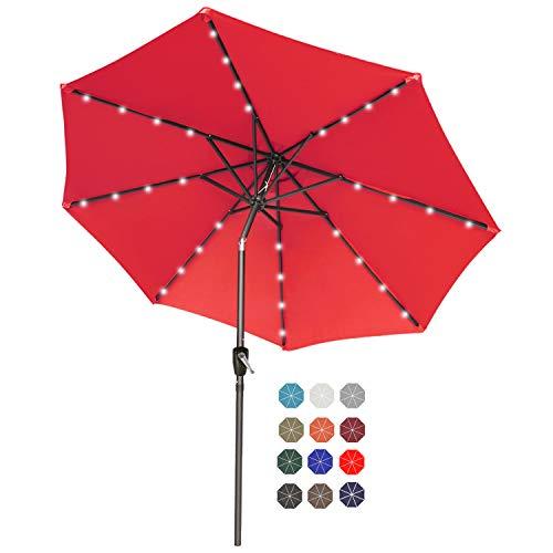 ABCCANOPY 230cm Gartenschirm Sonnenschirm neigbar mit 32 Solar-LED-Lichtern,für Garten,Deck,Schwimmbad,Sandstrand,Rot