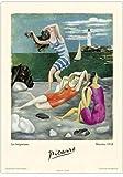 Poster/Cartel Francia Vintage 50x70cm Picasso Pintura Bañistas Playa Biarritz 1918