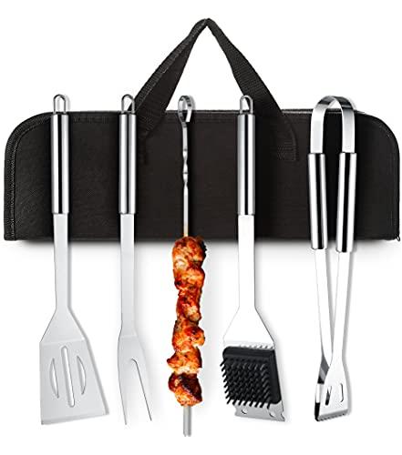 Kit de Utensilios de Barbacoa de Acero Inoxidable para Todo Tipo de Barbacoas - Con Bolsa de Transporte - Resistentes al Calor