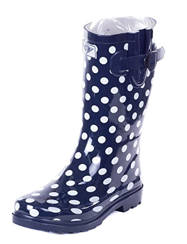 Forever Young Women Mid-Calf Polka Dots Rubber Rain Boot, 8