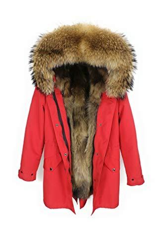 Lea Marie Damen Luxury Parka XXL Kragen aus 100% ECHTPELZ ECHTFELL Jacke Mantel Fuchspelz Innenfutter (S, ROT)