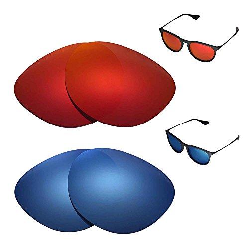 Walleva Polarisierte Fire Rot + Ice Blau Ersatz-Objektive für Ray-Ban Erika RB417154mm