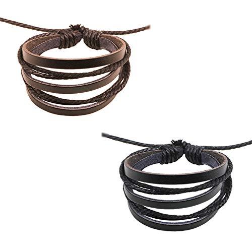 JinYu - Pulsera de piel de varias capas, 2 unidades, para mujer y hombre, color negro y gris