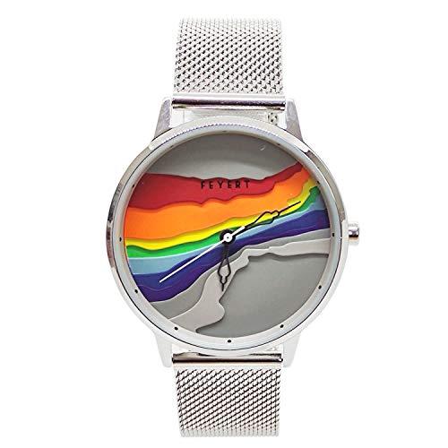 Chronomart FEYERT FE-0057 - Reloj de pulsera con correa de malla de acero inoxidable en relieve en 3D con esfera de arco iris, cuarzo japonés, color plateado