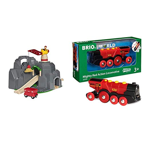 Brio World - Crane & Mountain Tunnel | 7 Piece Toy Train Accessory for Kids Ages 3 and Up & Mighty Red Action Locomotive | Battery Operated Toy Train with Light and Sound Effect for Kids Age 3 and Up
