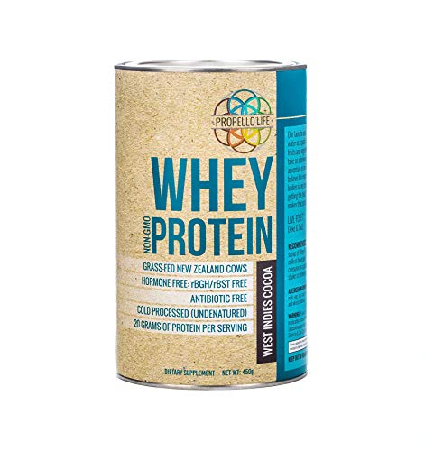 Propello Life Grass-fed Whey Protein Powder, West Indies Cocoa, 450g