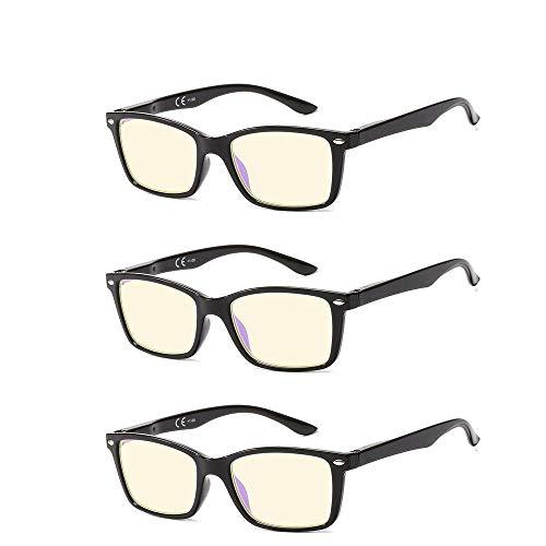 Suertree 90% Anti Blue Light Lesebrille 3 Pack Sehhilfe Augenoptik Brille Lesehilfen für Damen Herren BM151T 2.5x