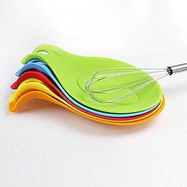 Unmengii Dish Heat Resistant Random Color Tool Utensil Cooking Silicone Spoon Rest Mat