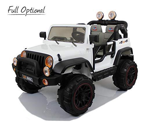 Mondial Toys Auto ELETTRICA 12V per Bambini 2 POSTI Maxi Fuoristrada con Telecomando 2.4G Soft Start AMMORTIZZATORI Full Optional HP-002 Bianco