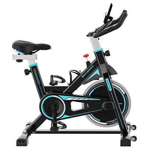 CITYSPORTS Bicicleta Estática Resistencia Ajustable con Pantalla LCD y Monitor de Frecuencia Cardíaca, Bicicletas Estáticas de Interior Fitness Bikes Tranquilo