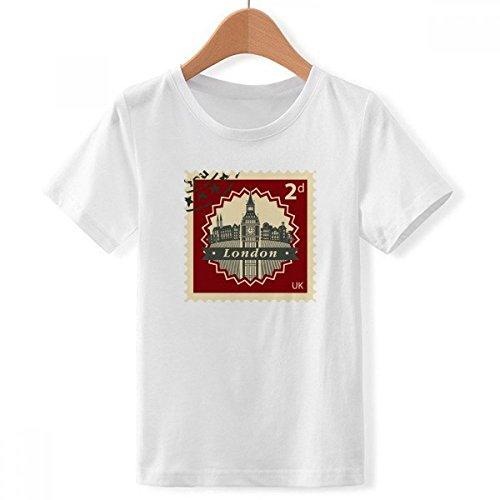 DIYthinker Londres el Big Ben Sello Silueta bretaña, Reino Unido de Cuello Redondo Camiseta para Chico Multicolor X-Grande