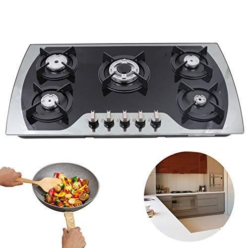 Hornillo de gas – 91 cm, cocina de gas integrada de cristal templado, 5 fuegos, cocina de gas empotrable para gas natural, GLP / NG de alta calidad