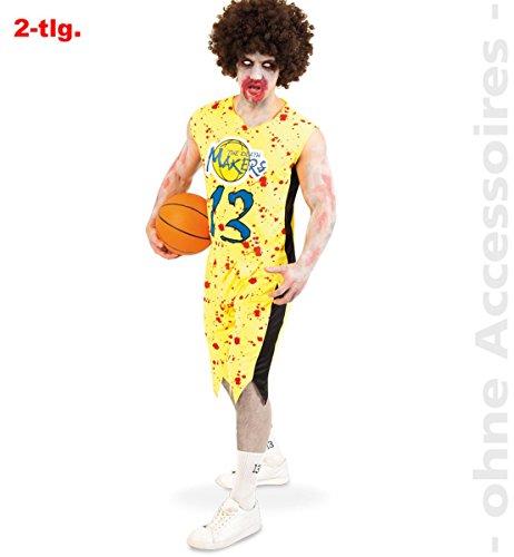 Zombie Basketball-Spieler Kostüm, Oberteil und Shorts, blutige Flecken Halloween Horror Karneval *NEU bei Pibivibi© (X-Large)