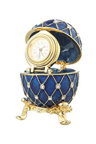 Dekorativer Russische Fabergé-Stil Ei / Schmuckkästchen Gitter mit Uhr 6 cm blau