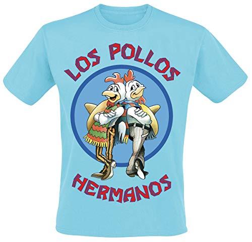 Breaking Bad Los Pollos Hermanos Hombre Camiseta Azul Claro, [Effekte/Besonderheiten] + Regular