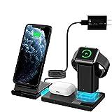 WisFox Wireless Charger, 3-in-1-Ladestation für Apple Watch, Airpods, abnehmbaren und...