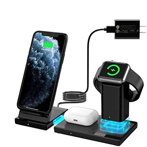 WisFox Wireless Charger, 3-in-1-Ladestation für Apple Watch, Airpods, abnehmbaren und magnetischen kabellosen Ladeständer für iPhone 11/11 Pro Max/X/XS/XR/Xs Max/8/8 Plus und andere Qi-Telefone