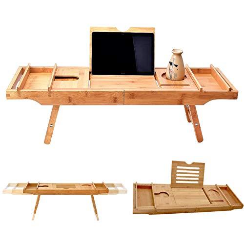 FXYY Badkuip Caddy & laptop bed bureau - 2 in 1, uitbreidbare badkuip, ingebouwde standaard voor boeken of tablets, badkuiphouder en organizer met smartphone en wijnglashouder
