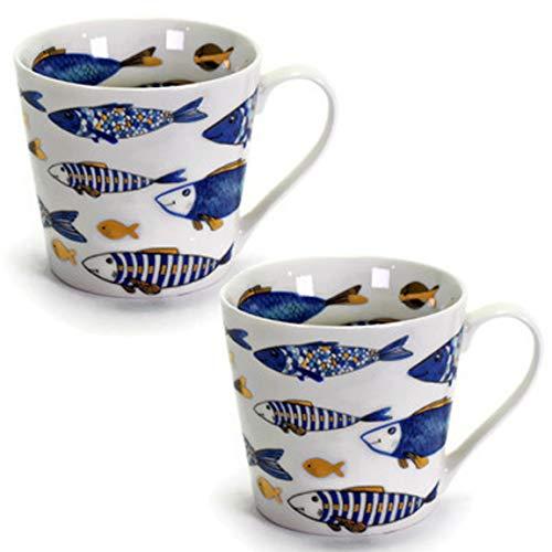 MAIKAI 2er Set Große Kaffeetassen Blue Fish mit tollem Fischdekor FM 400 ml EIN Maritimer Kaffeebecher Becher Tasse Mit Gold Applikationen Stilvolles Geschenk Taufe Konfirmation Kommunion