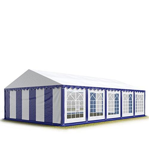 TOOLPORT Carpa para Fiestas Carpa de Fiesta 5x10 m Carpa de pabellón de jardín Aprox. 500g/m² Lona PVC en Azul-Blanco Impermeable