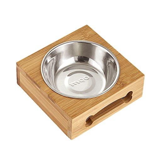 Lvcao 猫食器スタンド 竹製 ペット 食器台 ペットボウル ペット食器 ステンレス ペットフードボール 犬皿 取り外し可能 猫食器 犬 猫用 フードボール 食器台 餌皿 猫 小型犬 洗い易い シングル