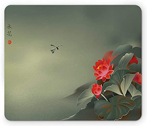 Alfombrilla de ratón Dragonfly, pintura tradicional japonesa con flores de loto en diseño de tonos brumosos, alfombrilla rectangular de goma antideslizante, tamaño estándar, rojo, verde, 25 cm x 20 cm