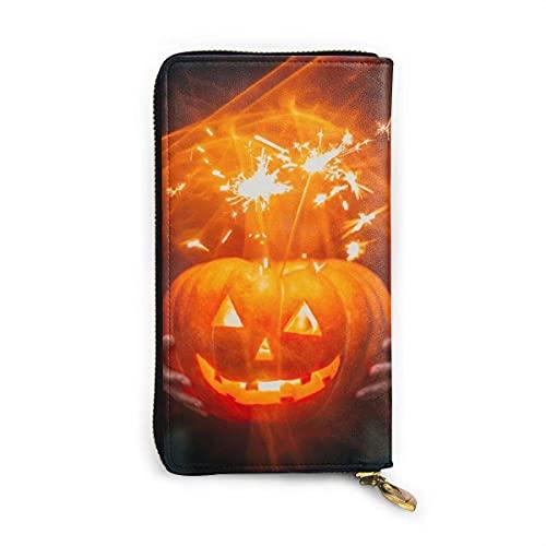 Lámpara de calabaza luminosa moda impreso carteras para mujeres cremallera embrague carteras bolsa titular de la tarjeta