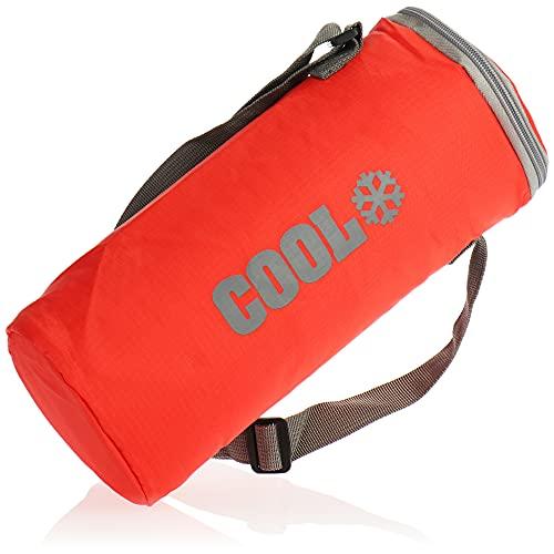 com-four® Bolsa Nevera Redonda - Nevera térmica Plegable para una Botella - Pequeña Bolsa Aislante para Picnic, Camping, Exteriores, Deportes (01 Pieza - Rojo - 2l)