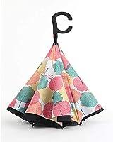 防風傘リバースダブルレイヤーフォールディング傘ロングハンドルメンズレディーストラベル傘日焼け止めレインデュアルユース傘(Color:A)