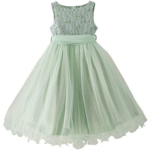 [キャサリンコテージ] フォーマル スパンコールレースチュールベルトドレス 女の子 キッズドレス PC929 100cm ミントグリーン[MGR] TAK
