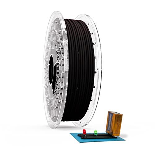 Filamento Filaflex Conductivo TPU flexible conductor de electricidad compatible con la mayoría de las impresoras 3D del mercado con una dureza shore 92A,2.85mm 500 gr, Negro