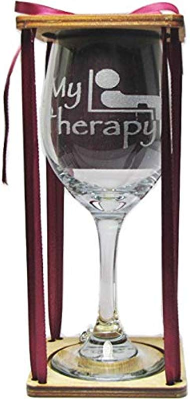 My Therapy Stemmed Wine Glass With Charm And Presentation Packaging