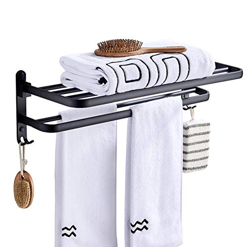 YUMING Bathroom Double Towel Rack,Towel Shelf with Two Towel Bars and Hooks Design,24-inch High Strength Aluminum Alloy Matte Black Never Rust (Double Towel bar)