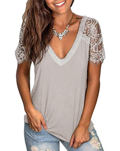 WMZCYXY Women's V Neck Scalloped Lace Tee Tops Short Sleeve T Shirt Casual Summer Blouses (Small, 2-Gray)