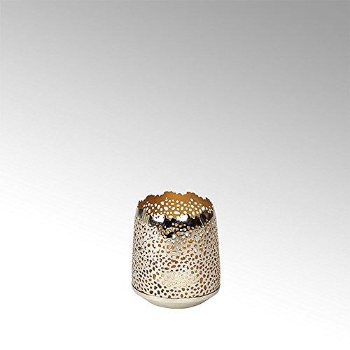 Lambert - Windlicht, Teelichthalter - SONAM - rund - klein - vernickelt - Gold - Höhe 10 cm - Ø 11 cm