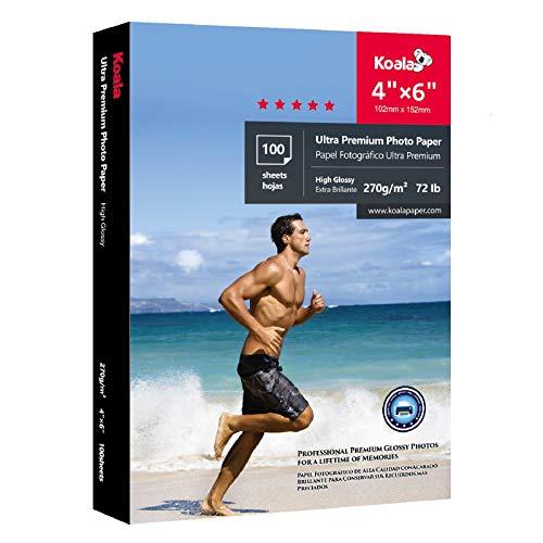 Koala Ultra Premium Photo Paper 4x6 Inch High Glossy Heavyweight 72lb for Inkjet Printer 100 Sheets