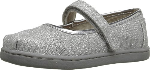 TOMS Kids Baby Girl's Mary Jane Flat (Infant/Toddler/Little Kid) Silver Glimmer Flat 3 Infant M