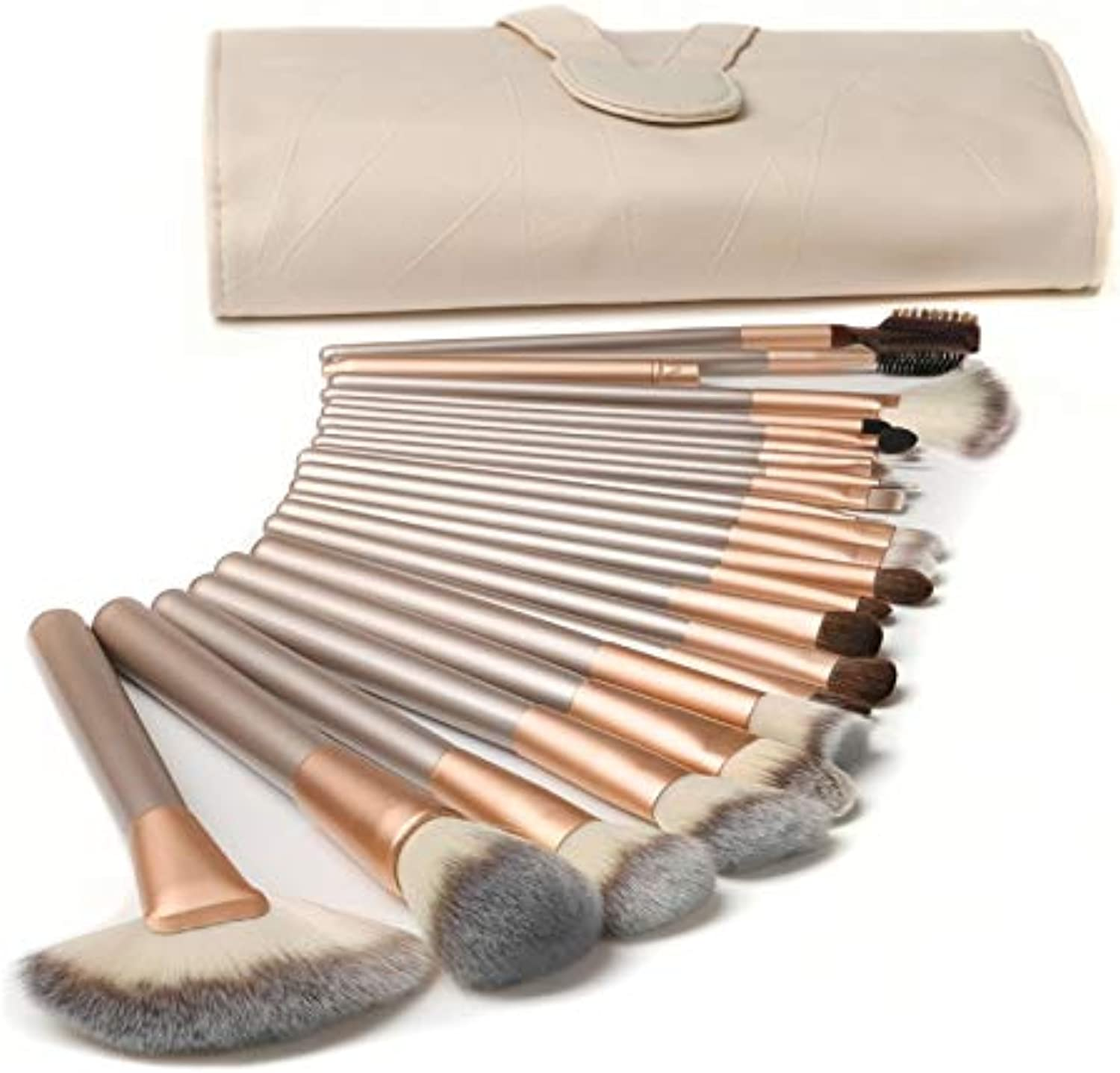 Fashion 24pcs Makeup Brush with Easy to Carry Beige PU Bag Pretty (color   Beige)