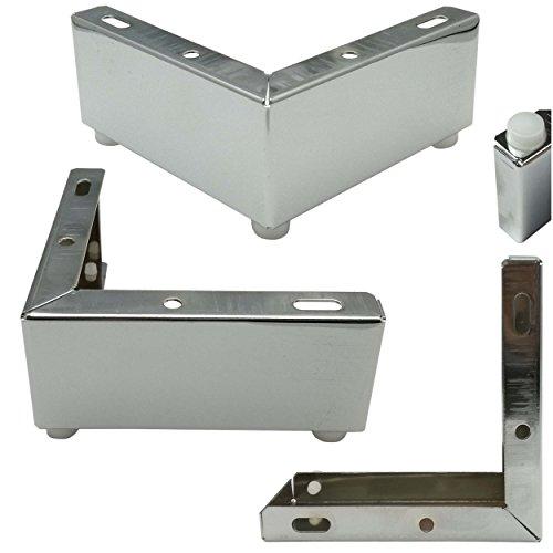 4x soporte de diseño para muebles pata Socket de pie 12x 12x 5cm Armario Del Pie sofá pie cromado