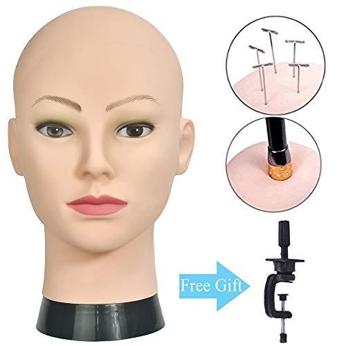 Cabeza de entrenamiento profesional para cosmetología, cabeza de maniquí calvo para hacer pelucas y mostrar la cabeza de la muñeca con una abrazadera gratis