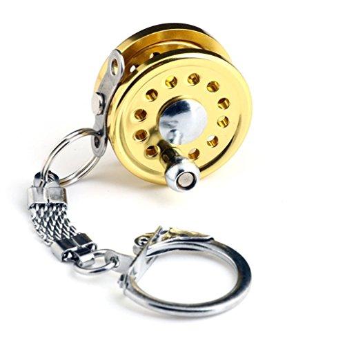 SupplyEU Llavero de carrete de pesca en miniatura, color dorado