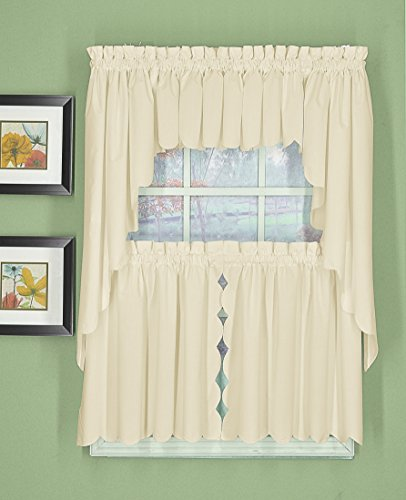 """Today's Curtain Orleans 36"""" Tier Pair with Tiebacks Tambour Scallop Edge Curtain, Ecru, 60"""" x 36"""""""