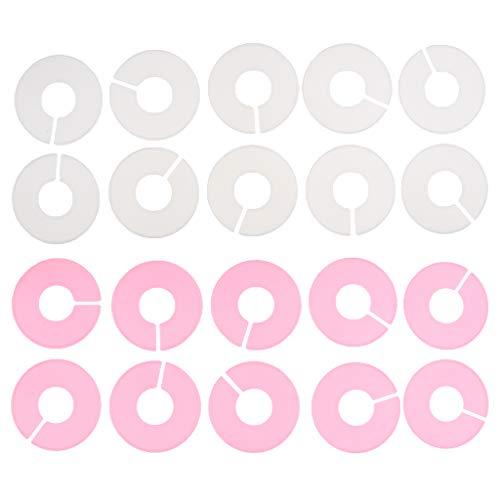 perfk 20 x storleksskivor storleksavgränsare storleksguide för storleksidentifiering på klädhängare (rosa vit)
