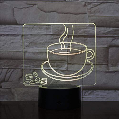 Nachtlicht 3d, 7 farben illusion ändern kaffeetasse ative kaffeebohne bett wette wette usb led lampe schlafzimmer für kinder jungen mädchen freund beste geschenke