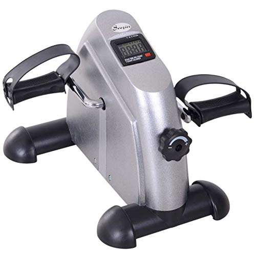 Soozier Portable Mini Pedal Exercise Bike Indoor Cycle Fitness Arm Leg w/LCD Display, Silver