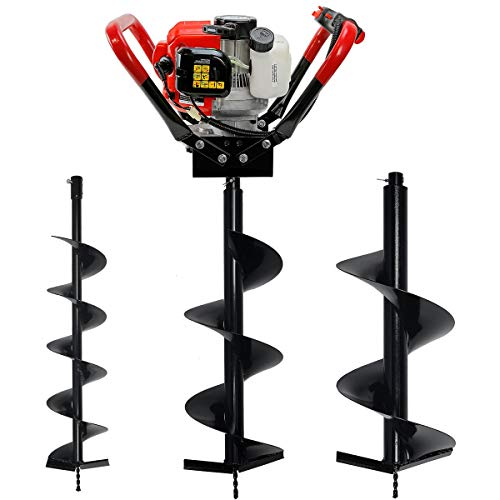 "XtremepowerUS Gas-Powered Post Hole Digger V-Type 55CC 2-Stroke EPA Powerhead Engine with 6"", 10"", 12"" Drill Bit Kit"