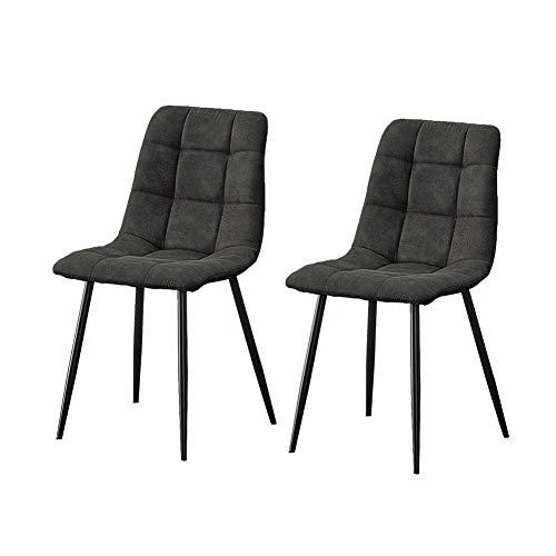 TUKAILAI Esszimmerstühle im Retro-Stil, mit gepolstertem Sitz, 2 Stühle, Empfang, Wohnzimmer, dunkelgrau, Esszimmerstühle, 2 Stück