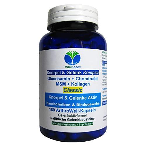 Knorpel & Gelenke Komplex Classic 180 ArthroWell Gelenk-Kapseln – Natürliche Gelenkbausteine Glucosamin + Chondroitin + MSM + Kollagen. 26441